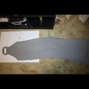 Full-length silver dress with slit